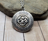 Handmade Oxidized Silver Celtic Knot Locket Necklace