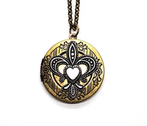 Handmade Mixed Metals Fleur De Lis Locket Necklace