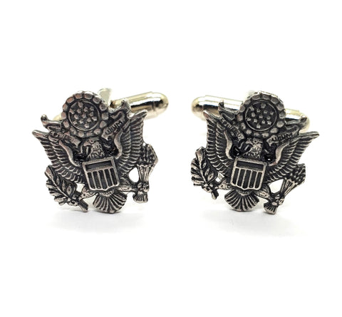 Handmade Oxidized Silver Army Cuff Links