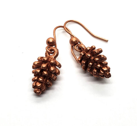 Handmade Oxidized Rose Gold Pinecone Earrings