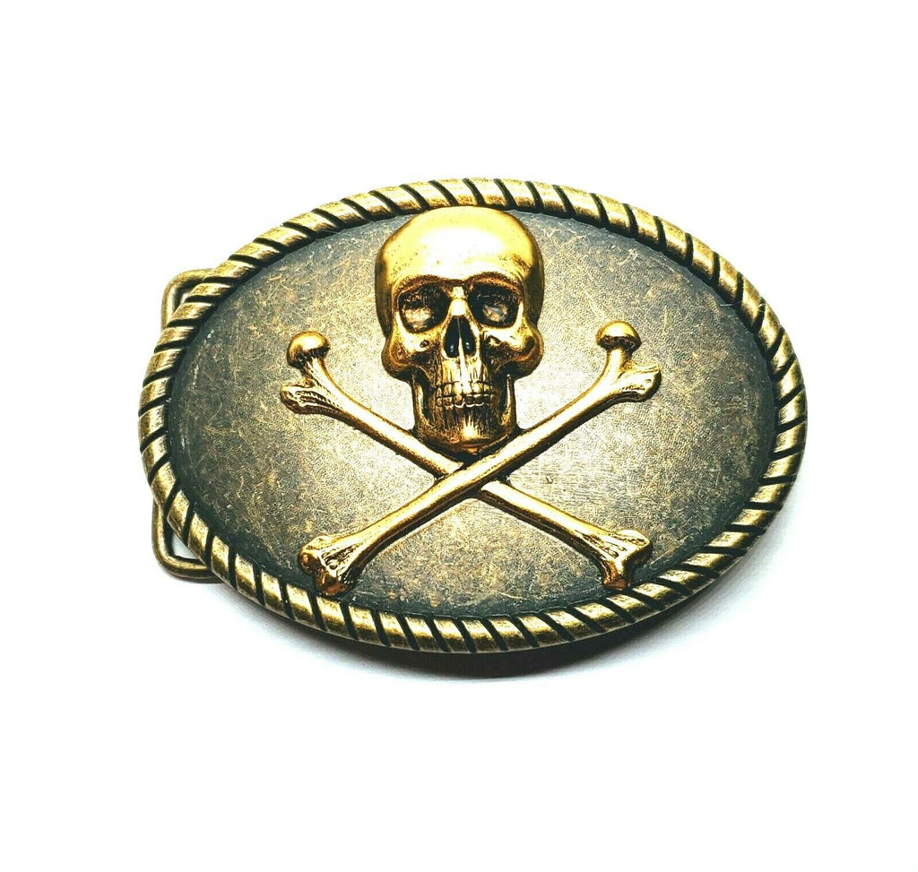 Handmade Skull And Crossbones Belt Buckle