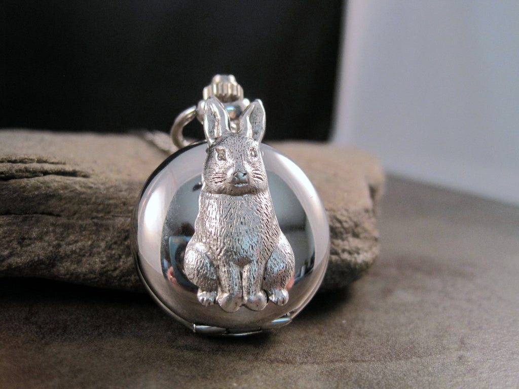Handmade Steampunk Silver Bunny Rabbit Pocket Watch Necklace