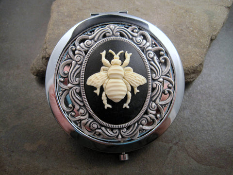 Handmade Victorian Oxidized Silver Bee Cameo Compact Mirror