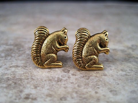 Handmade Antique Gold Squirrel Post Earrings