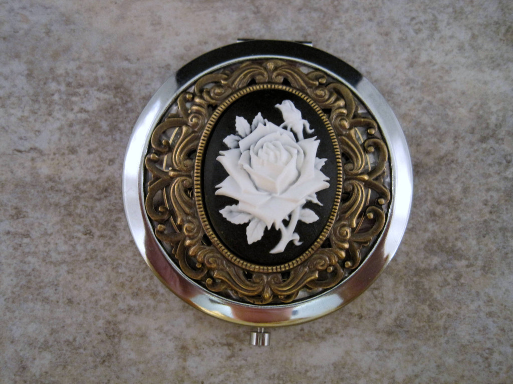 Handmade Victorian Silver Rose Cameo Compact Mirror