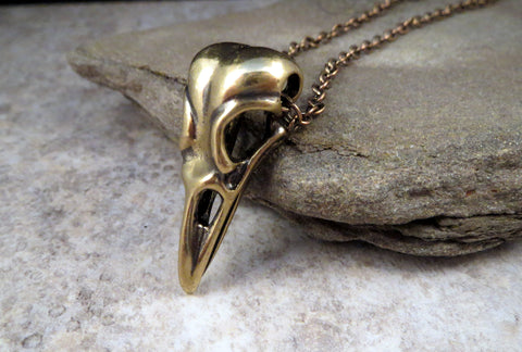 Antique Bronze Raven Skull Necklace