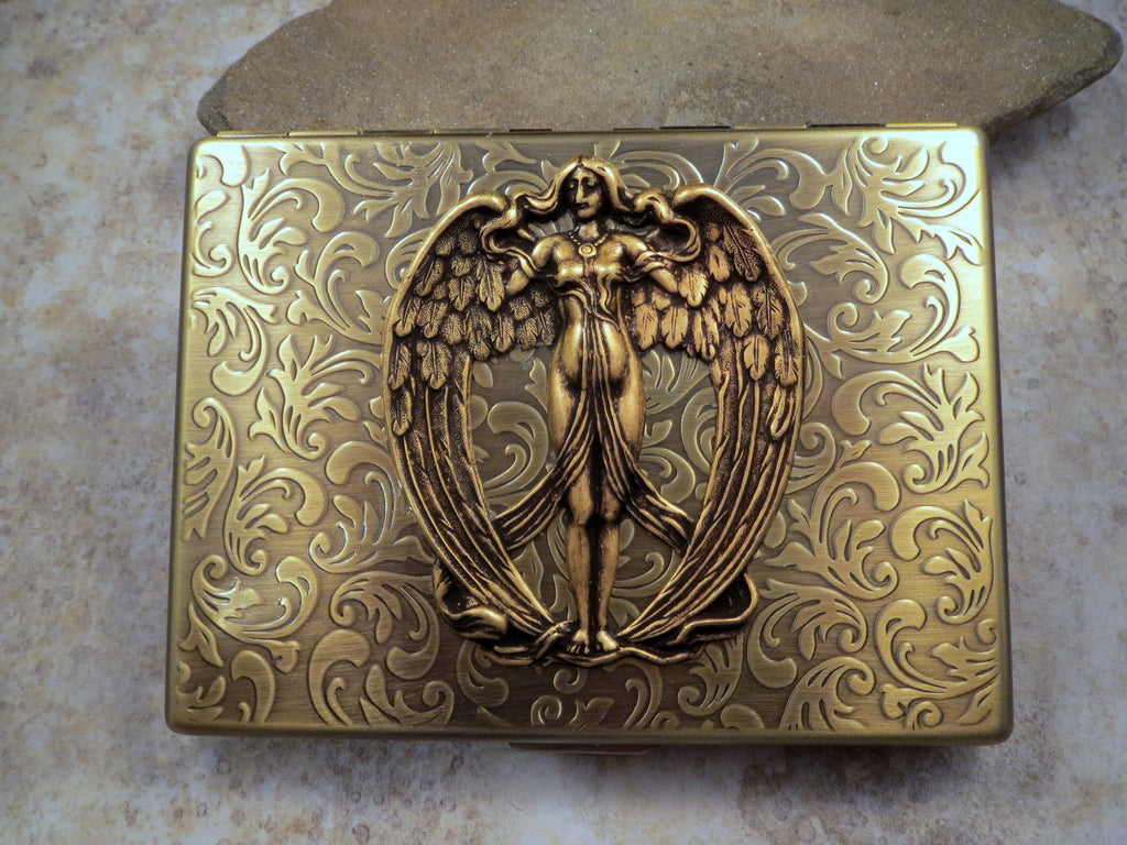 Handmade Antique Bronze Victorian Angel Cigarette Case
