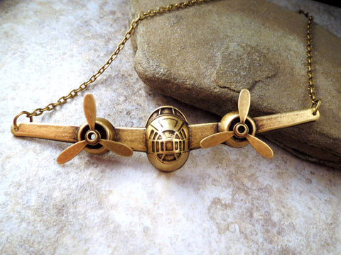 Handmade Steampunk Oxidized Brass Airplane Necklace With Propellers