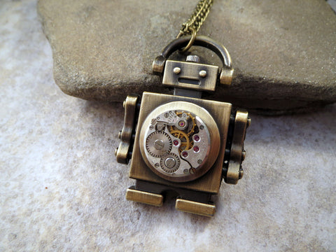 Handmade Antique Bronze Steampunk Robot Necklace