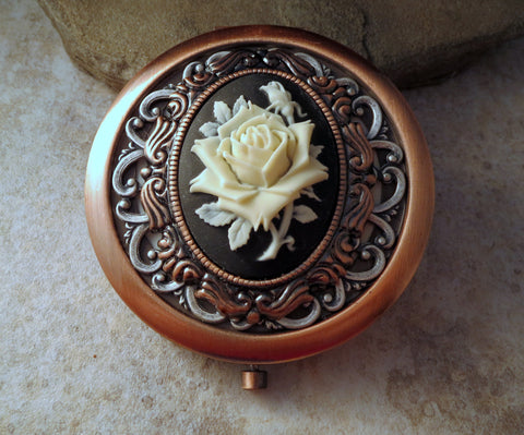 Handmade Victorian Oxidized Copper Rose Compact Mirror