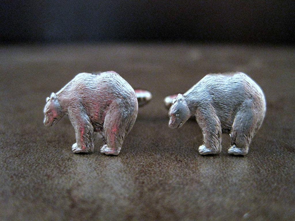 Handmade Oxidized Silver Bear Cuff Links