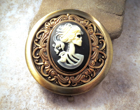 Handmade Victorian Oxidized Brass Day Of The Dead Compact Mirror
