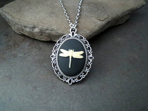 Handmade Victorian Dragonfly Cameo Necklace