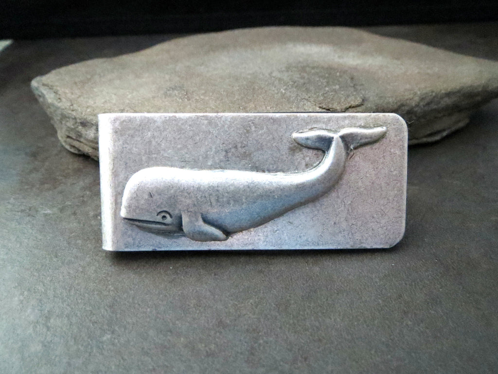 Handmade Oxidized Silver Whale Money Clip