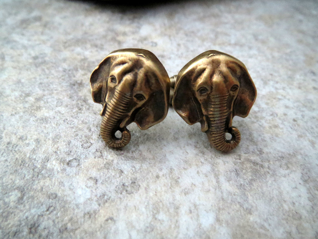 Handmade Oxidized Brass Elephant Cuff Links