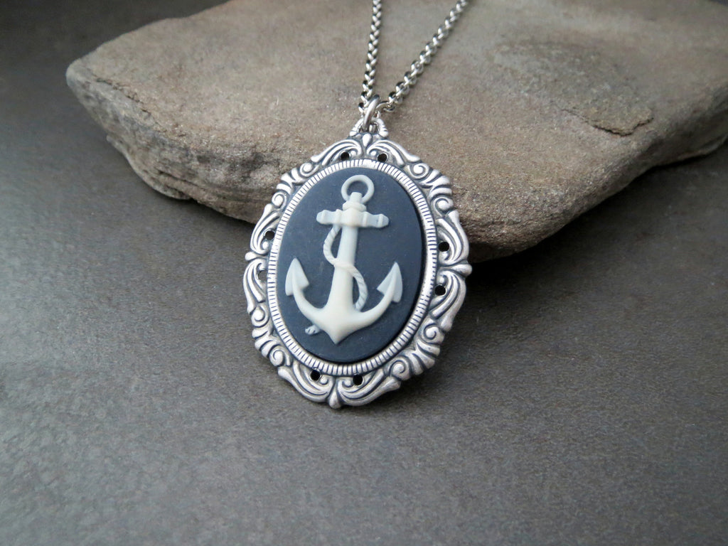 Handmade Nautical Anchor Cameo Necklace