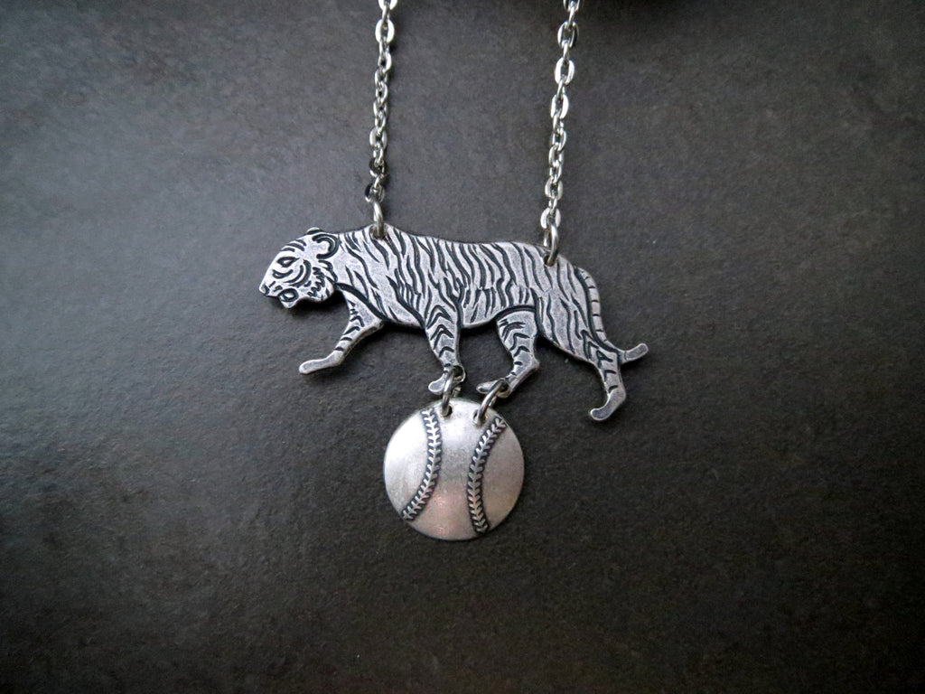 Handmade Detroit Tigers Baseball Necklace
