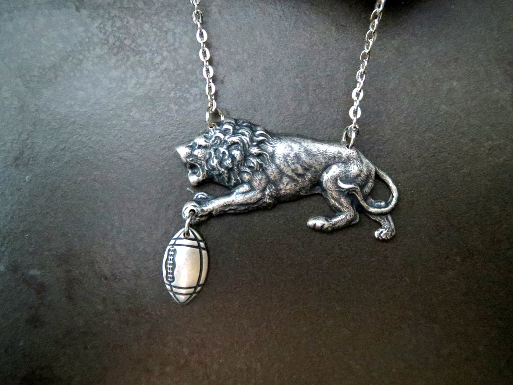 Handmade Detroit Lions Football Necklace