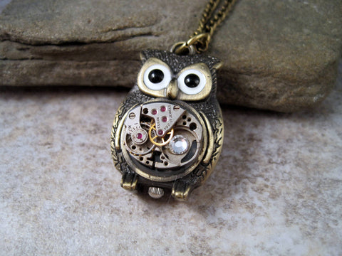 Handmade Antique Bronze Steampunk Owl Necklace