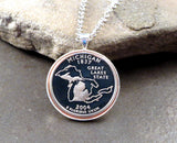 Handmade State Of Michigan Cameo Uncirculated Quarter Necklace