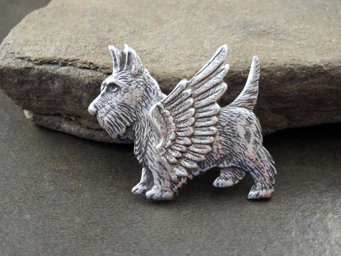 Handmade Steampunk Angel Scottie Dog Brooch