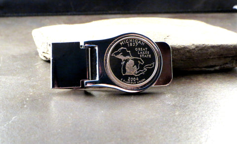 Handmade Uncirculated Michigan Quarter Money Clip