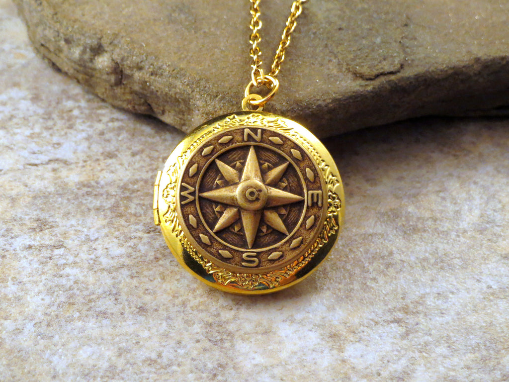 Handmade Oxidized Brass Compass Locket Necklace