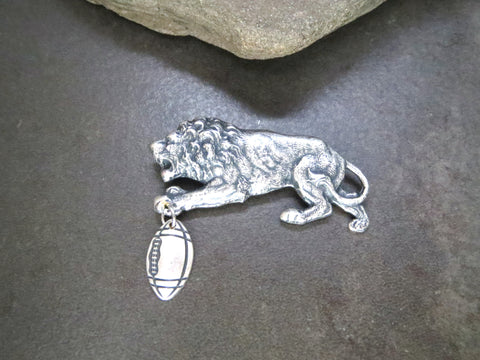 Handmade Oxidized Silver Detroit Lions Football Pin