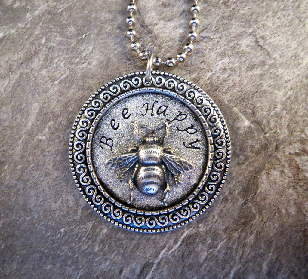 Handmade Hand Stamped Bee Happy Necklace