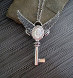 Handmade Large Silver Irridescent Angel Wings Key Necklace