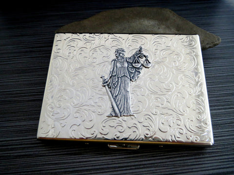 Handmade Antique Silver Embossed Lady Justice Cigarette Case - Lawyer