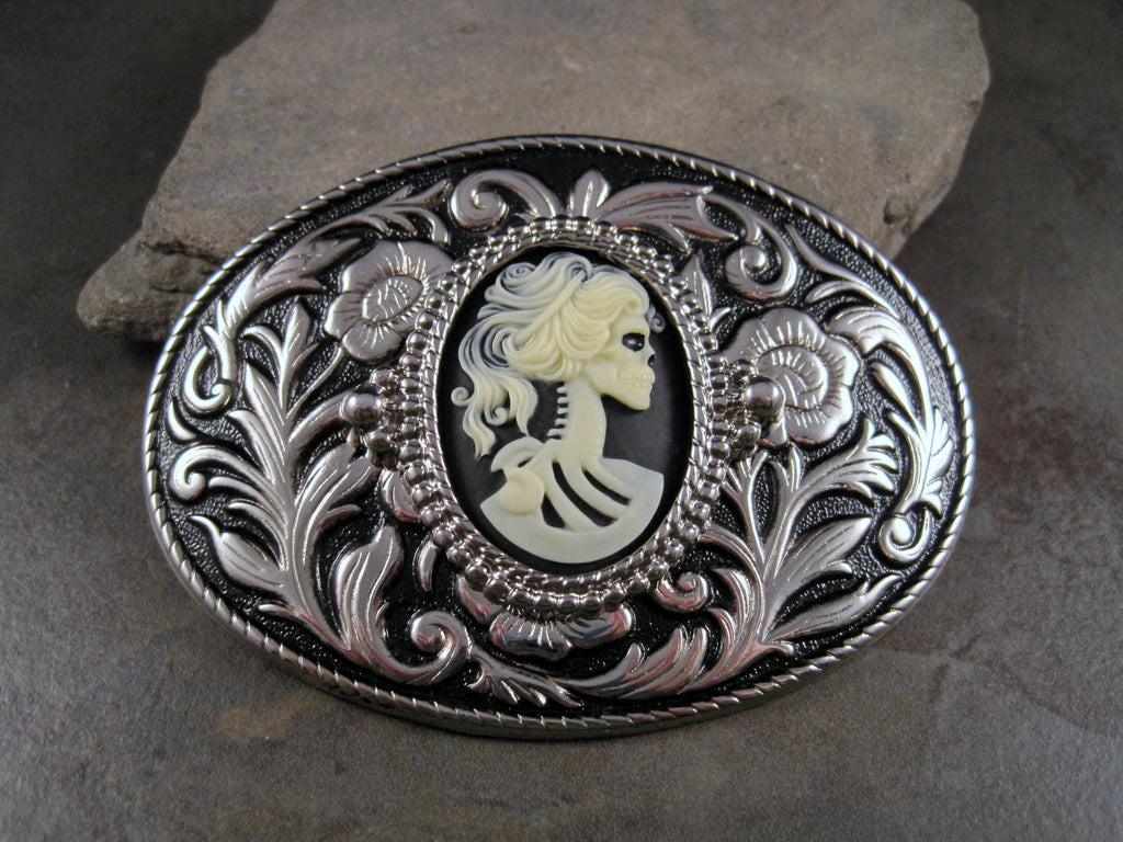 Handmade Silver Day Of The Dead Skeleton Steampunk Belt Buckle