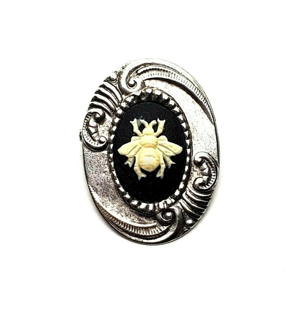 Handmade Bee Cameo Brooch Pin