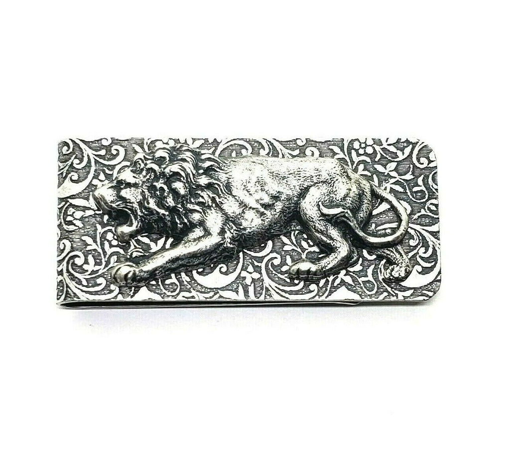 Handmade Oxidized Silver Embossed Brass Lion Money Clip