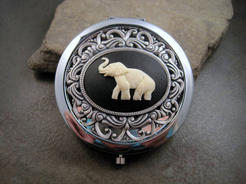 Handmade Victorian Oxidized Silver Elephant Cameo Compact Mirror