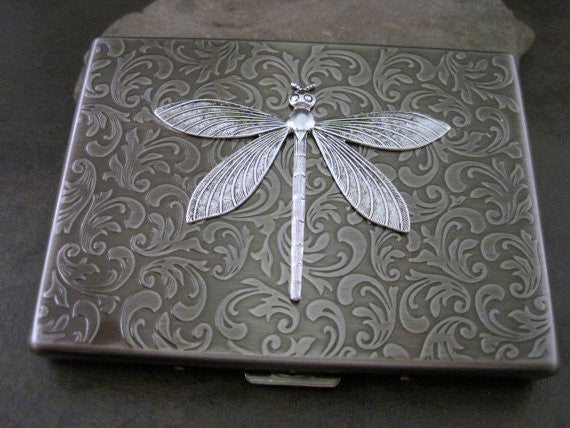 Handmade Antique Silver Embossed Dragonfly Cigarette Case