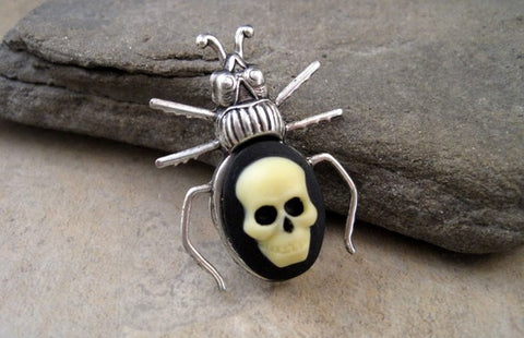 Handmade Day Of The Dead Skull Cameo Beetle Brooch Tie tack Pin