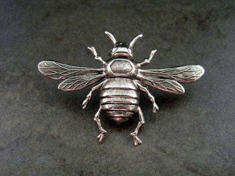 Handmade Oxidized Silver Bee Brooch