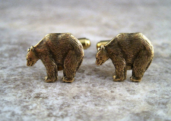 Handmade Oxidized Brass Bear Cuff Links