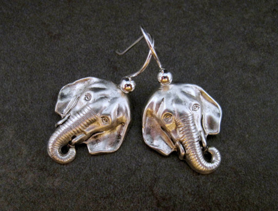 Handmade Oxidized Silver Elephant Earrings