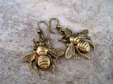 Handmade Oxidized Brass Bee Dangle Earrings