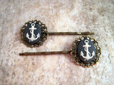Handmade Nautical Anchor Hair Bobby Pins
