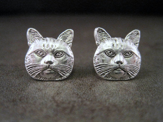 Handmade Antique Silver Cat Head Post Earrings