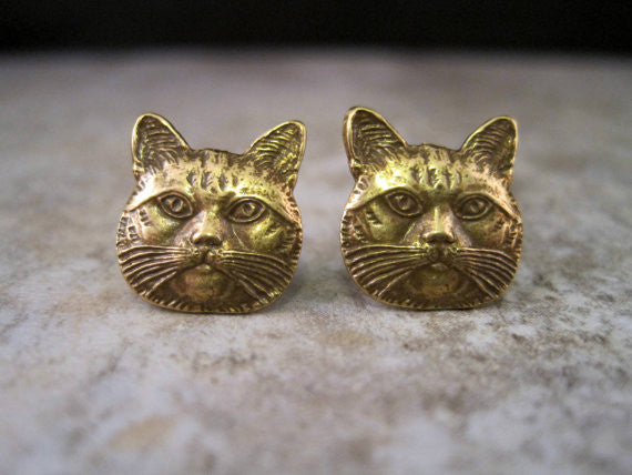 Handmade Oxidized Brass Cat Head Post Earrings