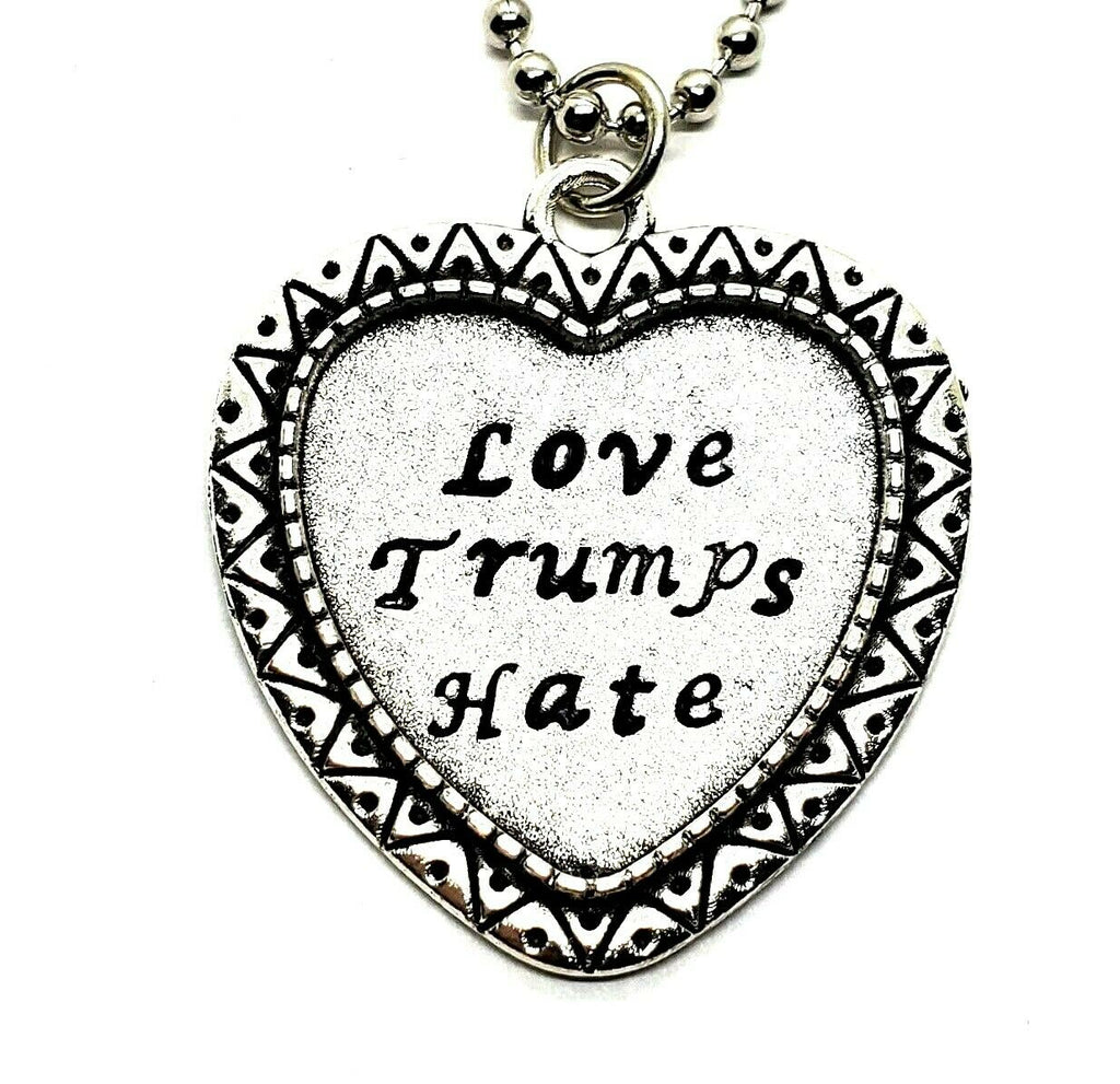 Handmade Hand-Stamped Love Trumps Hate Pendant Necklace