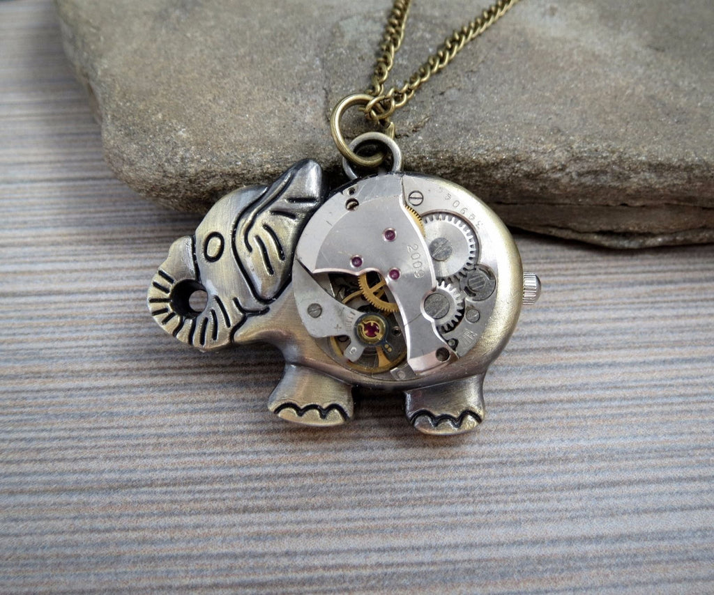 Handmade Antique Bronze Steampunk Elephant Necklace