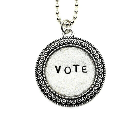 Handmade Hand Stamped Vote Necklace