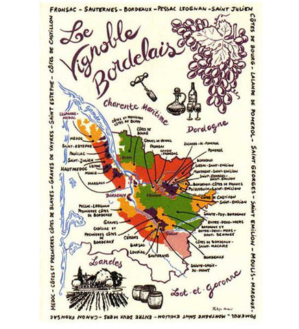 Bordeaux Map of vineyards (classic) kitchen towel