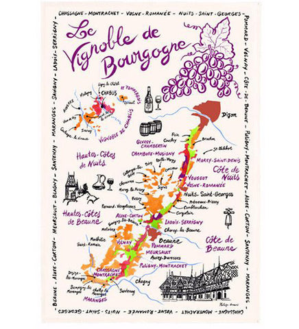 Burgundy Map of Vineyards (drawing style) kitchen towel