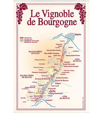 Burgundy Map of Vineyards (classic) Kitchen Towel